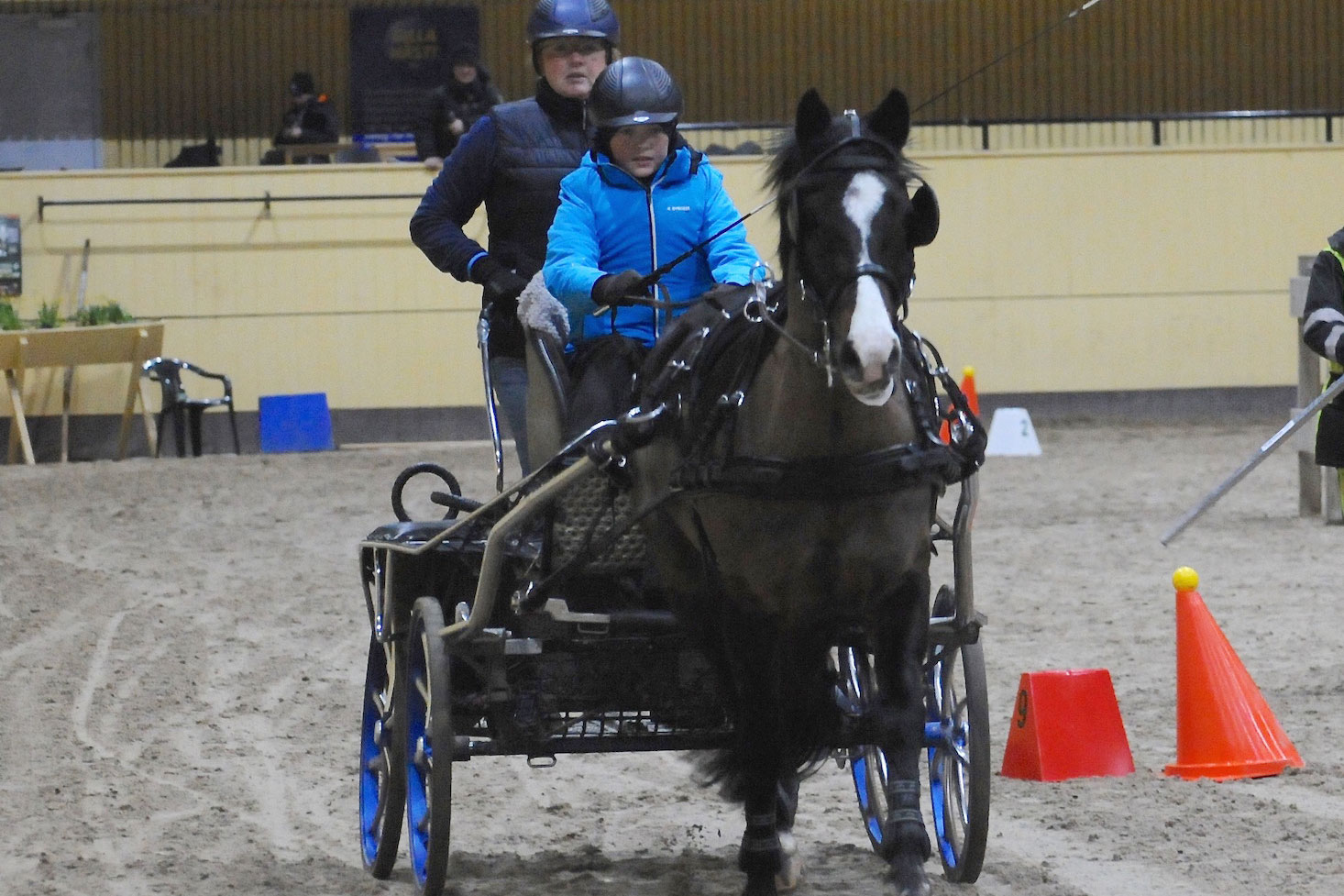 Jonathan Bengtsson - en av många unga kuskar på väg upp. Ponnyn heter Sluypenbergs Sam och bak på vagnen står mamma Paula.