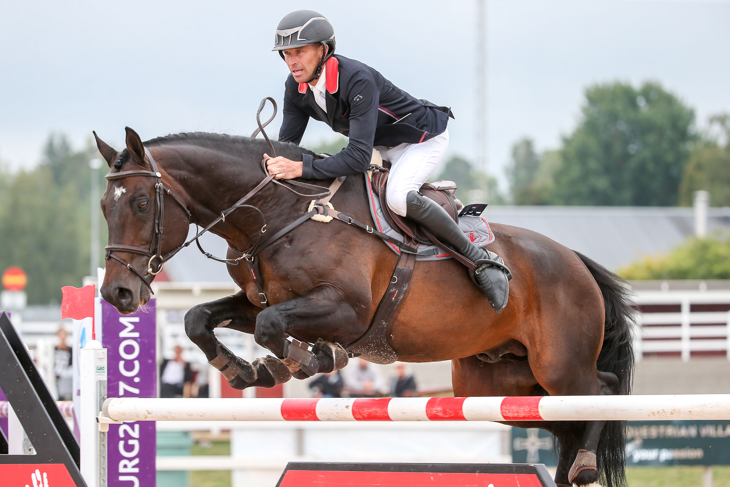 SUNDBYHOM, SVERIGE - 21 AUGUSTI 2016 : Niklas Arvidsson på hästen Click and Cash 1155 rider SM-final för seniorer, Sundbyholms travbana den 21 augusti i Sundbyhom ( Foto: Fredrik Jonsving )