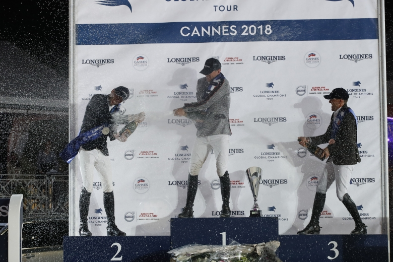 Champagne Shower For The First Three Classified Of The Lgct Grand Prix De La Ville De Cannes Presented By Volvo