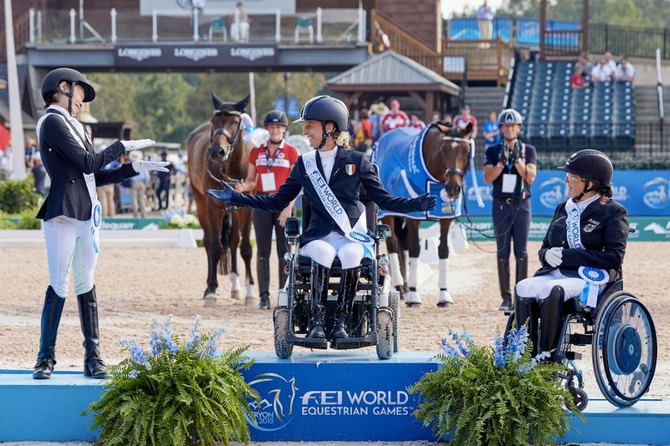 FEI World Equestrian Games™ Tryon USA FEI World Equestrian Games™ Tryon USA Laurentia Tan Sara Morganti Elke Philipp; Paradressage Photo FEI/Liz Gregg