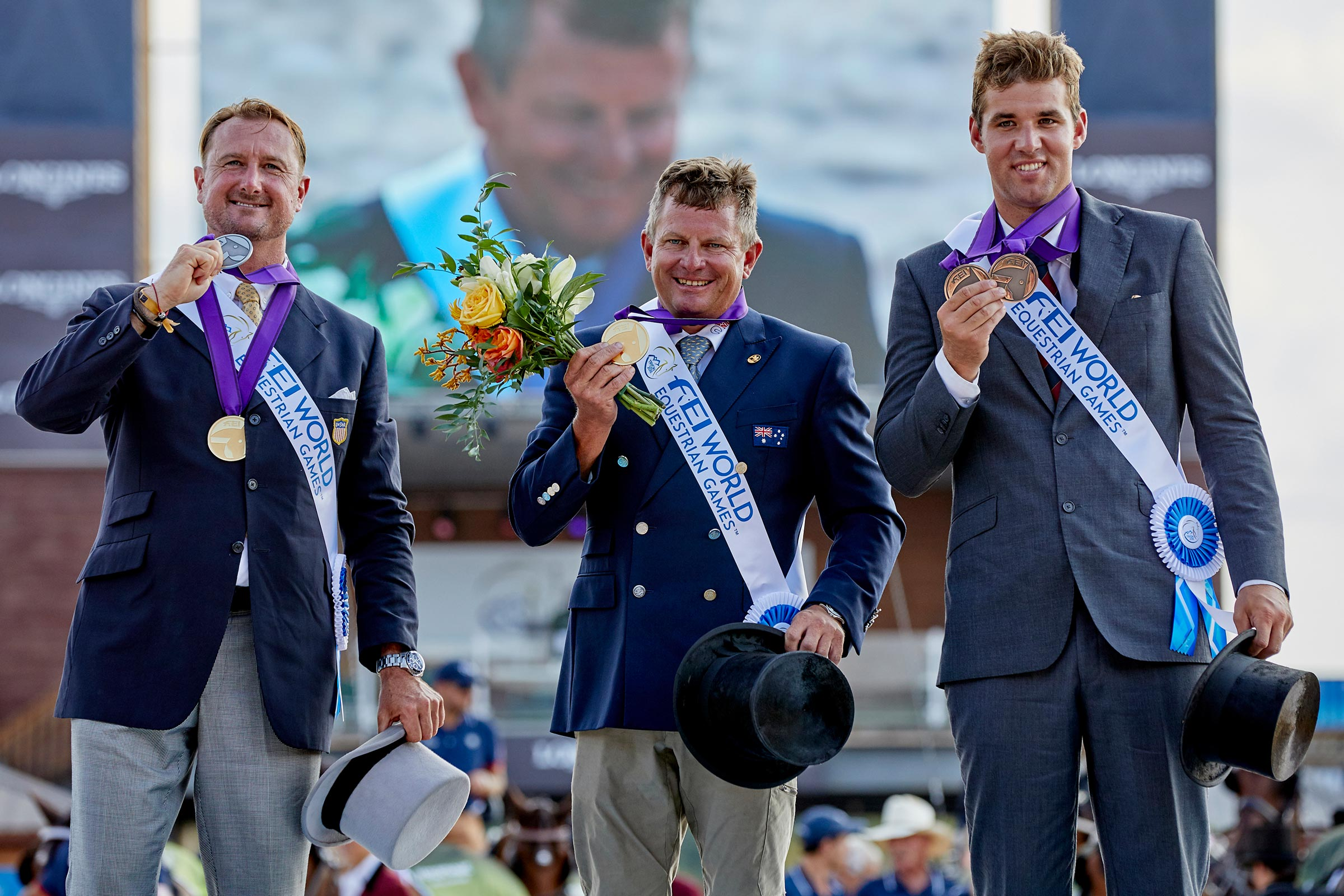 FEI World Equestrian Games™ Tryon USA FEI World Equestrian Games™ Tryon USA Driving Individual Podium Chester Weber Boyd Exell Edouard Simonet Photo FEI/Liz Gregg
