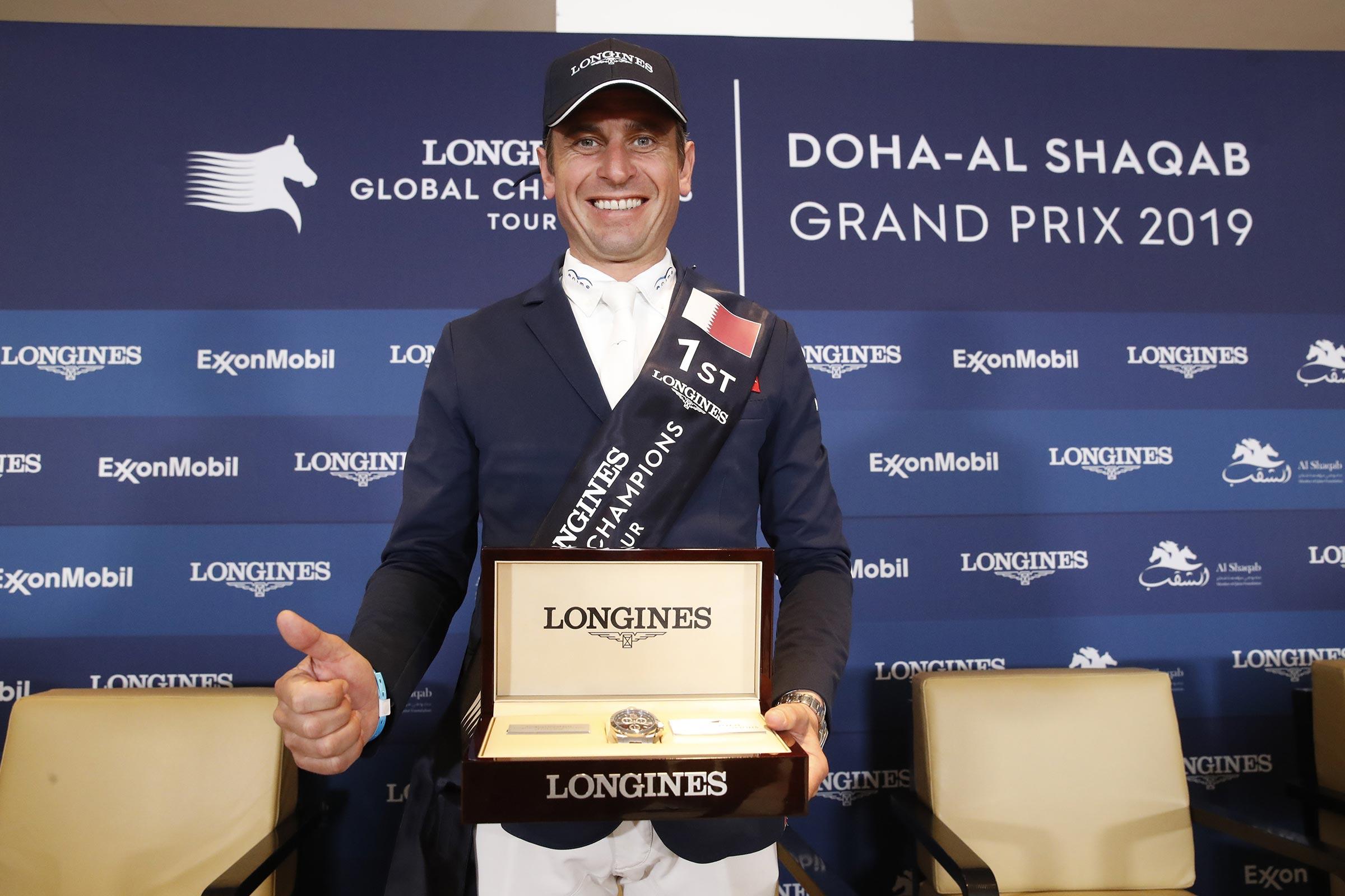 Julien Epaillard with the Longines watch ph.Stefano Grasso/LGCT DOHA 2019