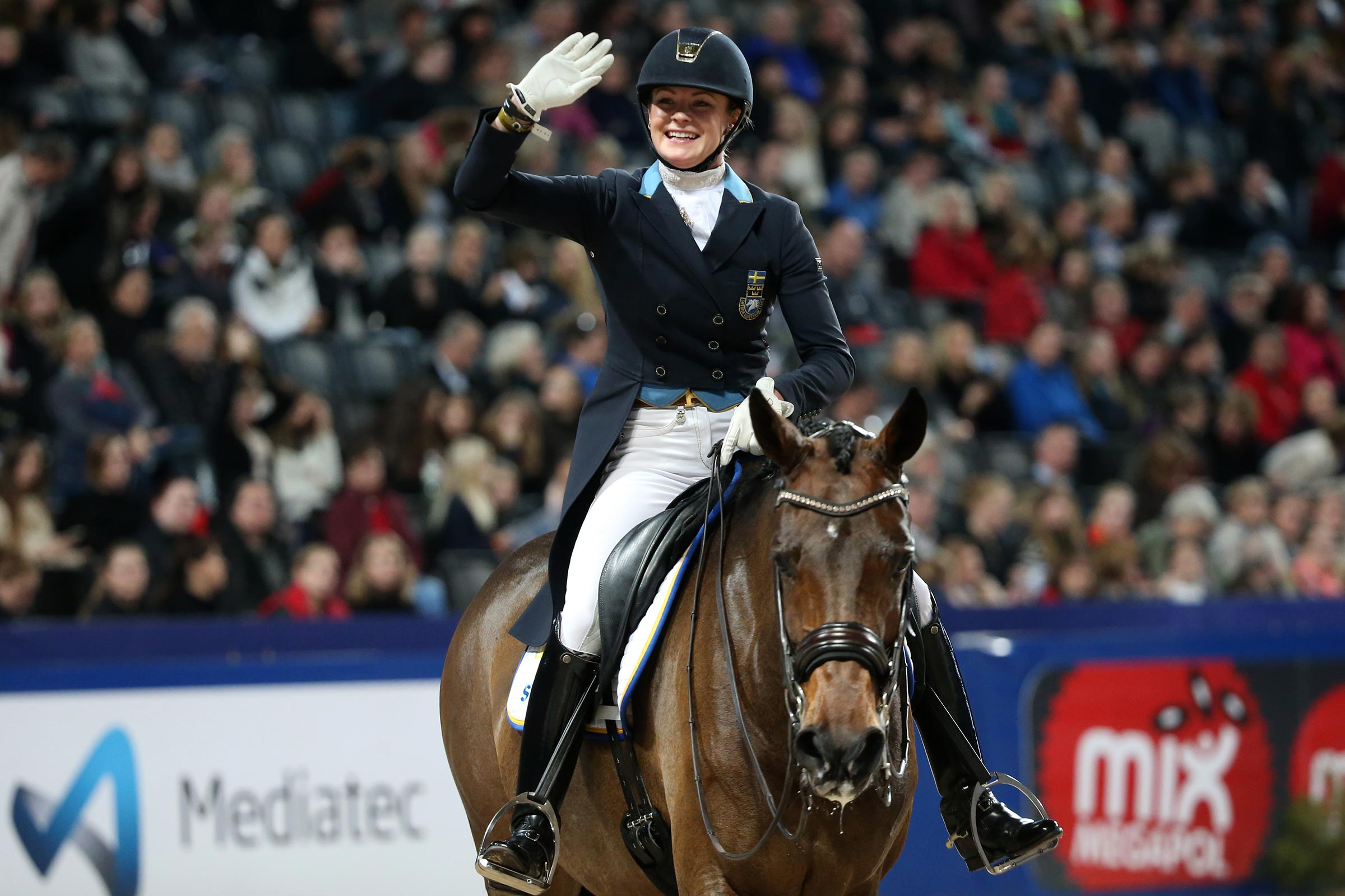Friends Arena, Swedish International Horse Show Jeanna Högberg, SWE and Darcia VH. Photo: Roland Thunholm Code:718 35