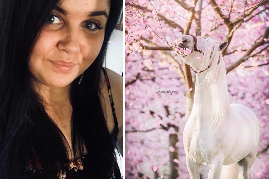 Jenna arrangerade hästfotografering i körsbärsblom