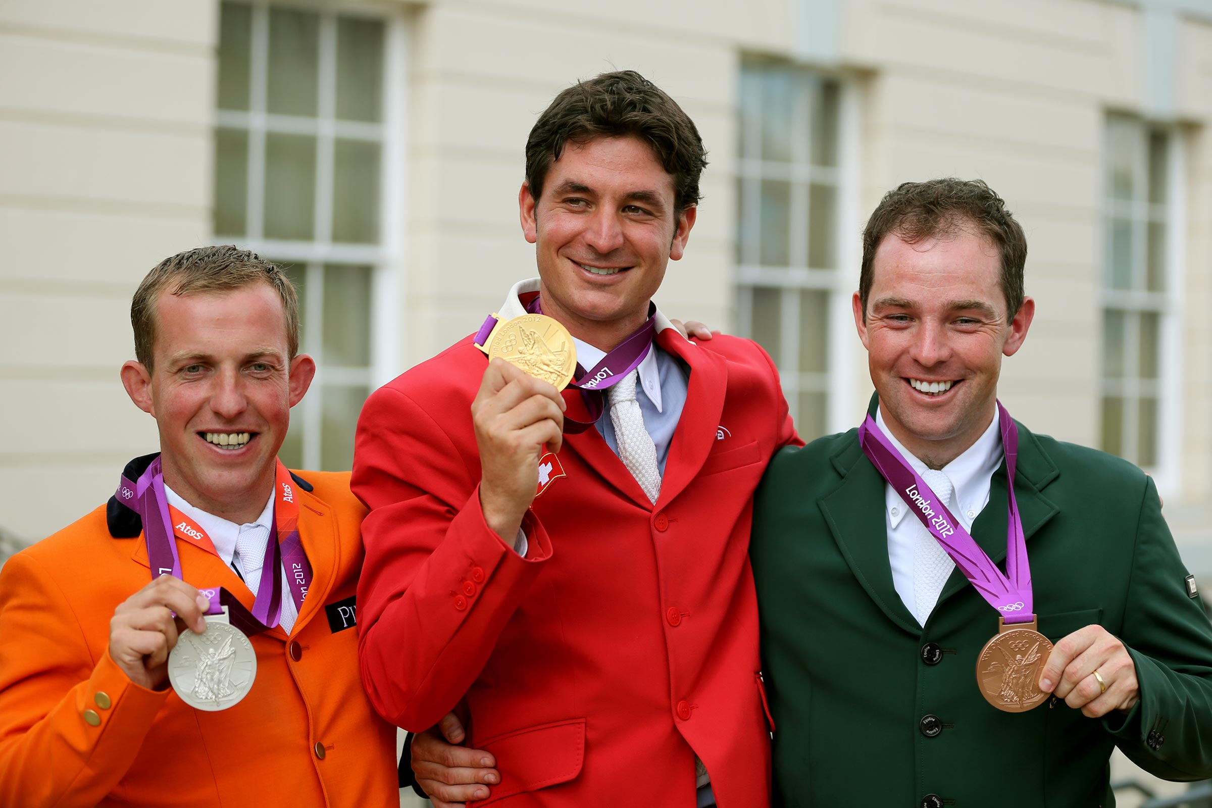 London OS 120807 Gerco Schröder silvermedal, Steve Guerdat goldmedal and Cian O´Connor bronzmedal. Photo: Roland Thunholm Code: 718 35 . OS i London 2012