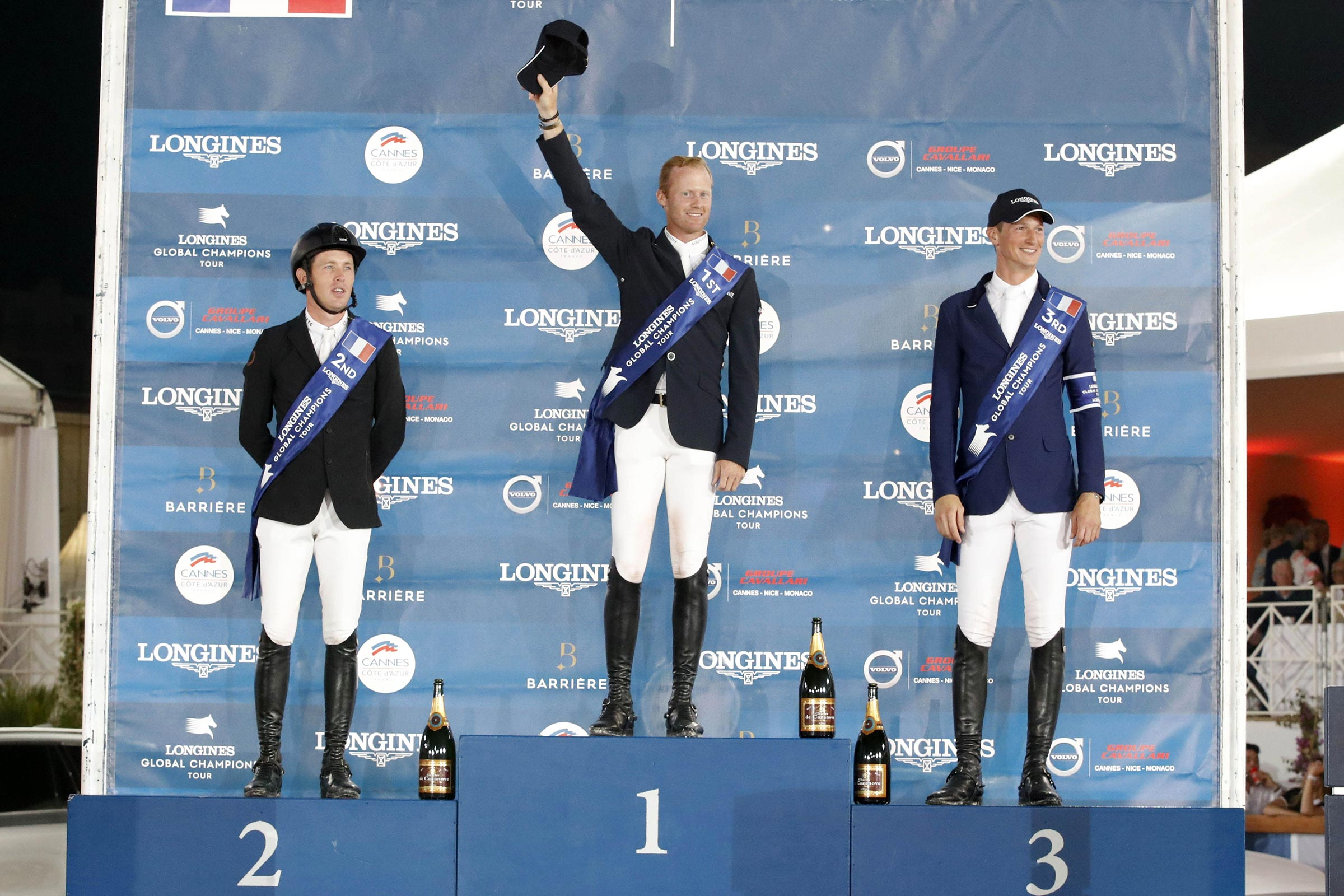 The Podium of LGCT of Cannes - 1st Niels Bruynseels, 2nd Scott Brash, 3rd Daniel Deusser ph.Stefano Grasso/LGCT CANNES 2019 DOWNLOAD