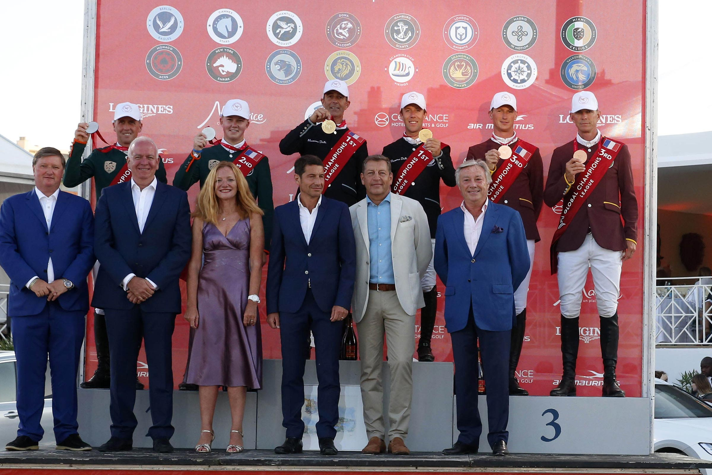 The Podium of GCL of Cannes - 1st Madrid in Motion, 2nd Miami Celtics, 3rd Shanghai Swans ph.Stefano Grasso/GCL CANNES 2019 DOWNLOAD