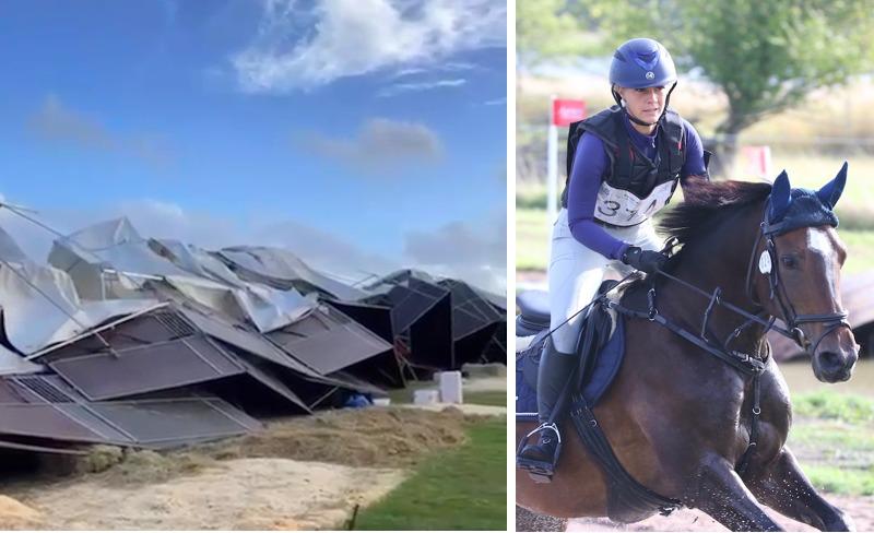 Flera hästar evakuerade efter stormig inledning på NM