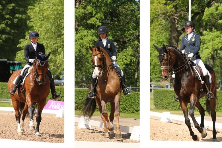 En trio som ligger bra till men många puffar på underifrån och J-SM är öppet. Från vänster Vendela Eriksdotter Rubin med Lawsonia, Cornelia T Pettersson med Final Cut och Elin Mattsson på Cognac.