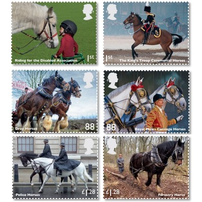 Hästar motiv på frimärken